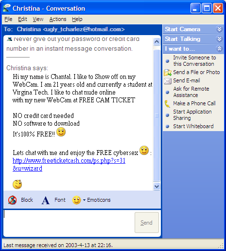 MSN Messenger Spam